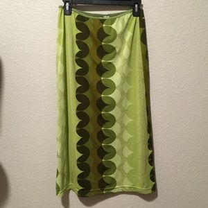 Stretchy double layer green geometric shape skirt